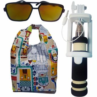Harga Mini Selfie Stick/Monopod for CloudFone Thrill Lite (Black)with Shopping Bag and Free Unisex Sunglasses