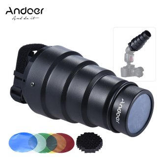 Harga Andoer Conical Snoot Light Modifier w/ 50 Degree Honeycomb Color Filter for Neewer Canon Nikon Yongnuo Godox Meike Vivitar Photography On-camera Speedlite Speedlight - intl