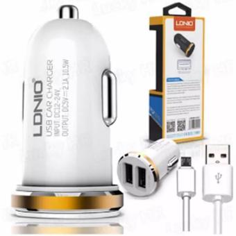 LDNIO DL-C22 2-port USB Mini Bullet Universal Car Charger With Cable for Android Smart Phone (White/Gold) Price Philippines