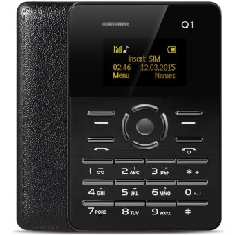 AIEK Q1 1.0 inch Ultra-thin Card Phone Audio Player Sound Recorder (Black) - intl Price Philippines