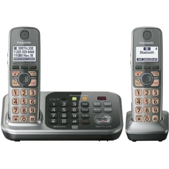 Harga KX-TG7741S DECT 6.0 Link-to-Cell Via Bluetooth Cordless Landline Phone with Answering System,Silver, 1 Handset