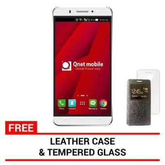 Harga Qnet mobile Hynex Plus (White) 8GB with Free Leather Case, Jelly Case and Tempered Glass