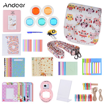 Harga Andoer 14 in 1 Accessories Kit for Fujifilm Instax Mini 8/8+/8s w/ Camera Case/Strap/Sticker/Selfie Lens/5*Colored Filter/Album/3 Kinds Film Table Frame/10*Wall Hanging Frame/40*Border Sticker/2*Corner Sticker/Pen - intl