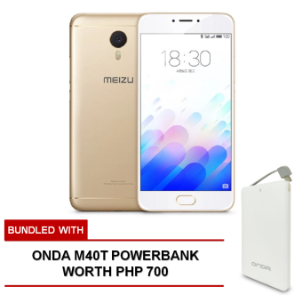 Harga Meizu M3e 32GB (Gold) bundled with FREE Onda M40T Powerbank worth Php 700