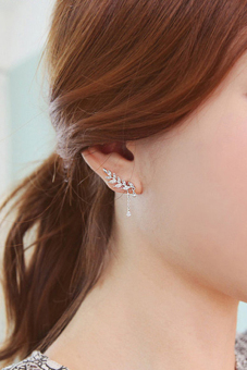 Buytra Clip Earrings Asymmetric Leaf Crystal Silver Price Philippines