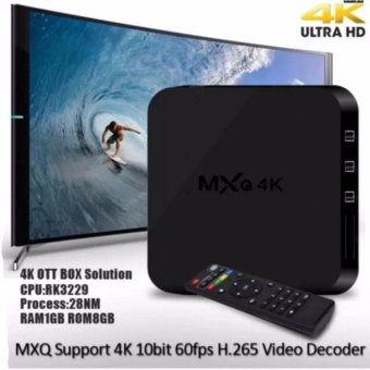 Harga MXQ-4k Android 5.1 Kitkat Ultra HD 8GB Quad Core Android Internet TV Box (Black)