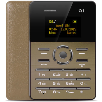 AIEK Q1 1.0 inch Ultra-thin Card Phone Audio Player Sound Recorder (Golden) - intl Price Philippines