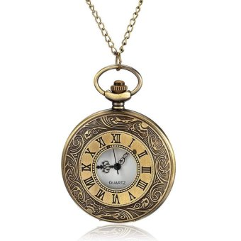 Happycat Fashion Retro Pendant Bronze Dial Flip Roman Pocket Watch Open Faced Roman Numerals with Chain (Antiqued Brass ) (47cm ) Price Philippines