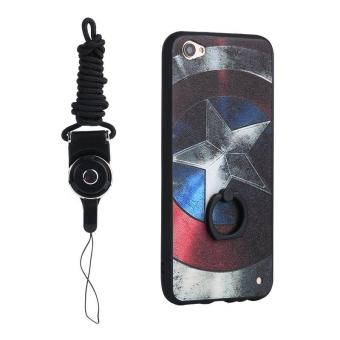 Harga For Vivo Y55 3D Painting Ring holder Cover Case(Captain America)+ One Free Phone Lanyard - intl
