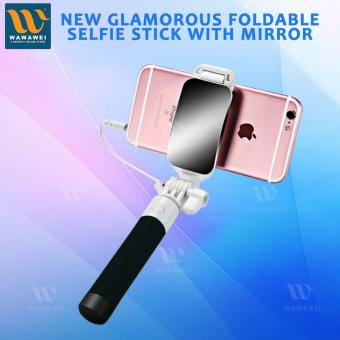 Wawawei New Glamorous Foldable Selfie Stick Monopod With mirror (Black) Price Philippines
