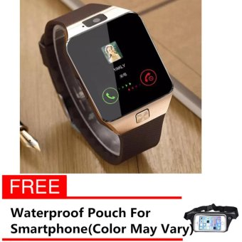 Harga M99 Quad Phone Bluetooth Touch Screen Smart Watch (Gold) with free Waterproof Sports Pouch Belt for Smartphone (Color May Vary)