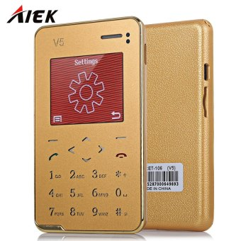 AIEK V5 1.8 inch Quad Band Card Phone Bluetooth 3.0 FM Audio Player (Golden) - intl Price Philippines