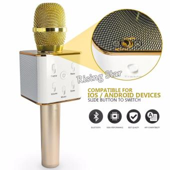 Harga Rising Star Q7 Portable Rechargeable Wireless Bluetooth Speaker Microphone Mic (Gold)