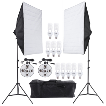 Photo Studio Video Continuous Lighting Kit Photography Light Stand Two 50 * 70cm Softbox Ten Bulbs Two Light Holder Price Philippines