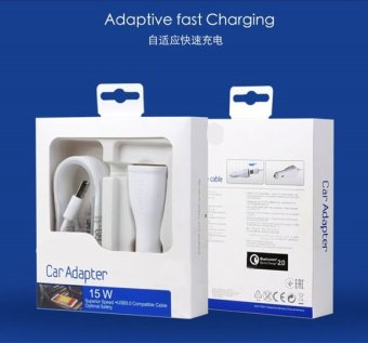Harga Car Fast Charger For Samsung Galaxy S6 / S6 Edge / Edge+ with USB 3.0 Cable (white)