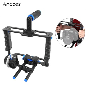 Harga Andoer C200 Aluminum Alloy Camera Camcorder Video Cage Kit Film Making System with Cage 15mm Rod Matte Box Follow Focus Handle Grip for Canon Nikon DSLR (Intl) - intl