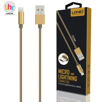 LDNIO LC88 2 in 1 Micro USB for Android Plus Lightning Connector Charger Data Cable for iPhone 7/6s (Gold) Price Philippines