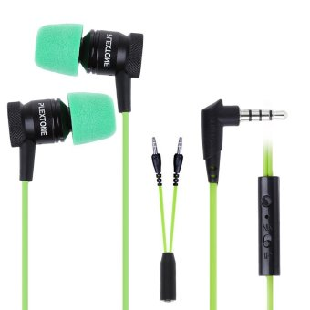 Harga PLEXTONE G10 In-Ear Professional Gaming Headset 3.5mm Jack Noise Cancelling Stereo Bass (Green/ Black)