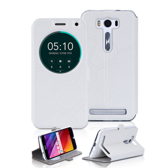 PopSky Round View Window Design with Magnetic Snap Stand Case Cover for Asus Zenfone 2 Laser ZE500KL 5.0 (White) - intl Price Philippines