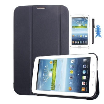 Harga Leather Case Cover For Samsung Galaxy Tab 3 7.0 T210 T211+Film +Stylus Sapphire(Dark blue) - intl