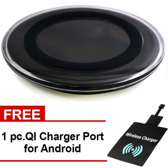 Harga Great Deals Wireless Charger Round Pad Type Qi Standard for All Type of Phone (Black) with Free QI Charger Port