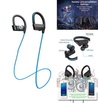 Harga Bluetooth Headset movement Fitness Wireless Headphone Stereo Super Bass Earbuds Headphone With Mic for LG Iphone xiaomi(Blue) - intl