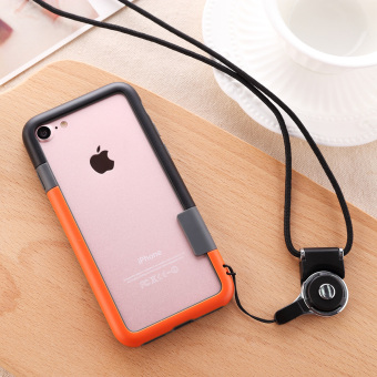 Harga Hybrid Bumper Side Frame with Lanyard Cover For iPhone 7 (Black + Orange) - intl