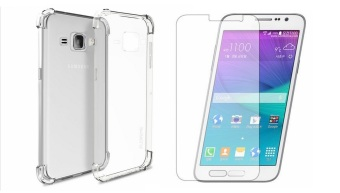 Harga German Import Shockproof Silicone Clear Case for Samsung Galaxy J120F Bundled With Tempered Glass (Clear)