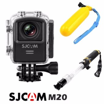 Harga SJCAM M20 16MP Action Camera (Black) with Floater/Bobber (Yellow) and Aquapod Floating Monopod Pole (Clear/Black)