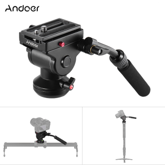 Harga Andoer Video Camera Tripod Action Fluid Drag Pan Head Hydraulic Panoramic Photographic Head for Canon Nikon Sony DSLR Camera Camcorder Shooting Filming - intl