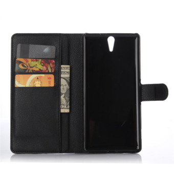 PopSky Wallet Stand Case Cover for Sony Xperia C5 Ultra (Black) Price Philippines