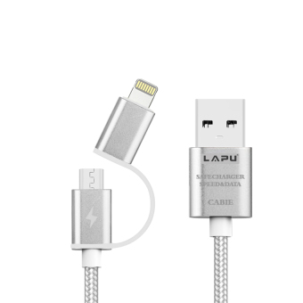 Harga Lapu V8 1M 2 in 1 Cable for IPhone 5/5s/6/6s/6s+ and Android V8 (Silver)