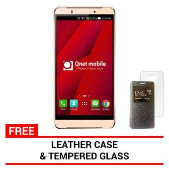 Harga QNET Mobile Hynex Plus 2 8GB (Gold) with FREE Leather Case and Tempered Glass