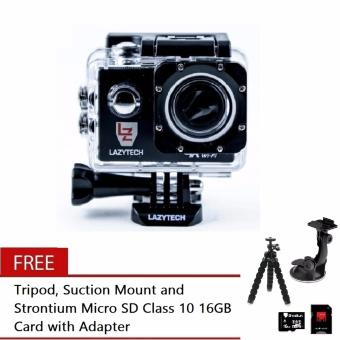 Lazytech 4K 30FPS 1080p 30/60FPS WiFi Action Pro 16MP Sports Camera (Black) with Free Tripod, Suction Mount and Strontium Micro SD Class 10 16GB Card with Adapter (Black) Price Philippines