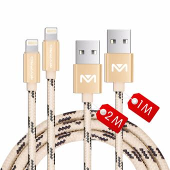 Harga Mypro PowerLine Nylon Braided Lightning to USB Cable for iPhone, iPad and iPod - (1 Meter+2 Meters)Set of 2