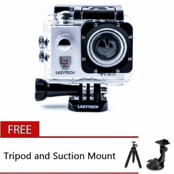Lazytech 4K 30FPS 1080p 30/60FPS WiFi Action Pro 16MP Sports Camera (White) with Free Tripod and Suction Mount Price Philippines