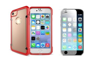 Harga Rainbow Defender Shockproof Case For Apple Iphone 5S Bundled With Tempered Glass (Clear/ Red)