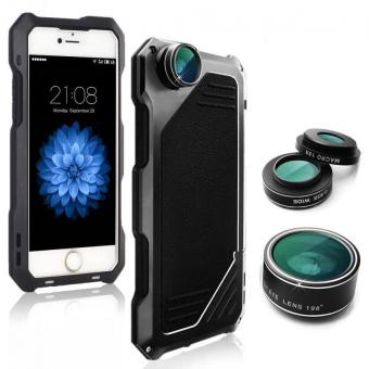 (Import)iPhone 6/6s Camera Lens Kit, 3 in 1 198? Fisheye Lens + 15XMacro Lens + Wide Angle Lens with IP54 Dustproof ShockproofAluminum Case, Built-in Screen Protector 4.7 Inches(Black)