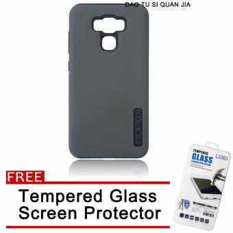 Incipio Silicone / TPU Back Case for Asus Zenfone 3 Max 5.5''/ZC553KL (Grey) with Free Tempered Glass Screen Protector