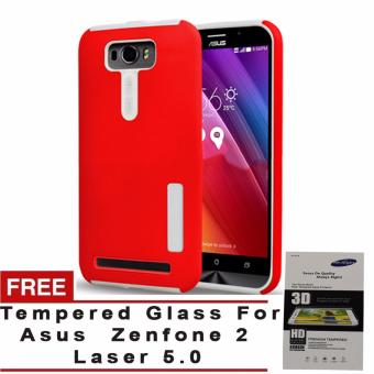Incipio TPU Back Case Cover , hardshell case with impact absorbingcore for Asus Zenfone 2 Laser 5.0 (Red) with free TemperedGlass