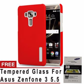 Incipio TPU Back Case Cover , hardshell case with impact absorbingcore for Asus Zenfone 3 5.5 (Red) with free Tempered Glass