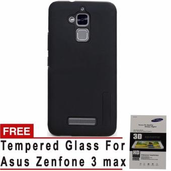 Incipio TPU Back Case Cover , hardshell case with impact absorbingcore for Asus Zenfone 3 max (Black) with free Tempered Glass