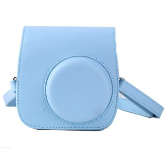 Instax Mini 8 Leather Camera Case Shoulder Bag Cover For Fuji Polaroid (Blue) - Intl