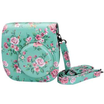 Instaxtic PU Leather Case with sling strap for Instax Mini 8 / Mini8+ / Mini 9 (Mint Floral)