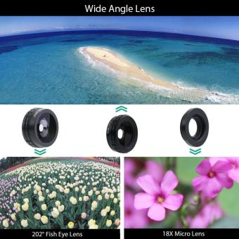 IPhone 7 Camera Lens Kit, OXOQO 3 In 1 202? Fisheye Lens + 18XMacro Lens + Wide Angle Lens With Dustproof Shockproof AluminumCase, Separate Screen Protector Included(Black) - intl - 4