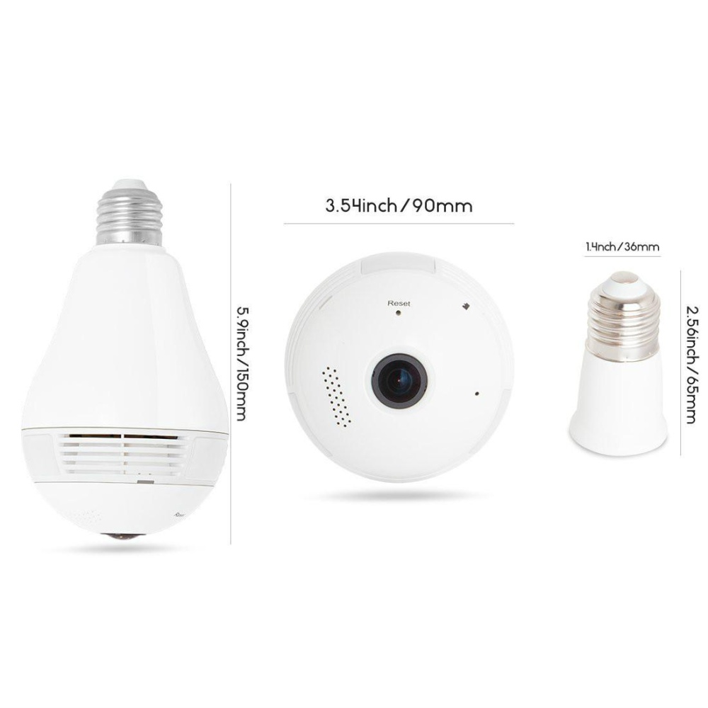 JDM 360?Wide Angle Fisheye WiFi IP Hidden Camera Bulb LED Lights960P HD Indoor Spy Security Camera for Android IOS APP Remote ViewSpy Nanny Camera Support MAX 128G - intl