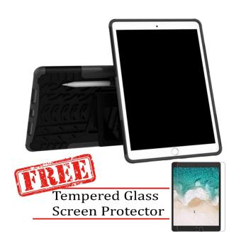 "Kickstand Extreme Protection Rubber Armor Case for Apple iPad Pro(10.5"") 2017 with FREE Tempered Glass Screen Protector (Black) Price Philippines"