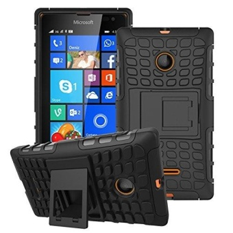 Kickstand Hybrid Dual Layer Armor Defender Silicone Hard Case ShockAbsorption Cover for Microsoft Nokia Lumia 435 - intl
