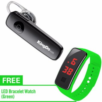 KingDo Brand M165 Bluetooth Earphone(Black) with Free LED Watch