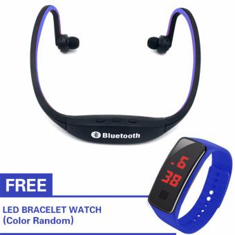 Kingdo E4 Sports Bluetooth Earphone Music Player MP3 Support TF Card(Blue) with Free LED Watch